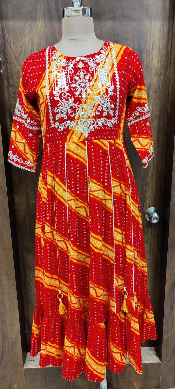 IKK0040 Red Orange Colour Long Gown.