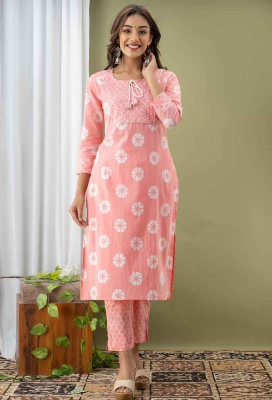 IKK0036 (Rs.695/-) Light Pink Colour Kurti Pant Set.