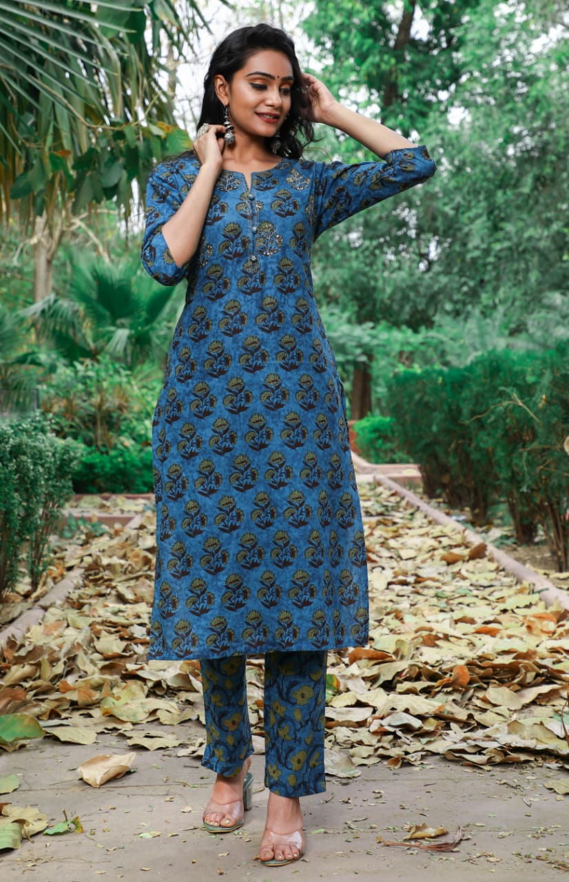 IKK0067 Blue Colour Kurti Pant Set.