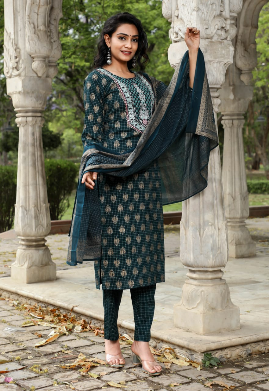 IKK0066 Green Colour Kurti Pant Dupatta Set.