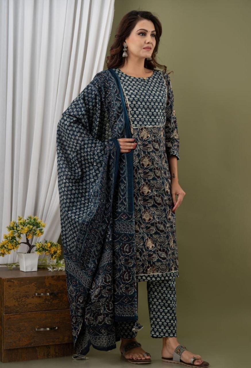 IKK0098 Blue Colour Kurti Pant Dupatta Set.