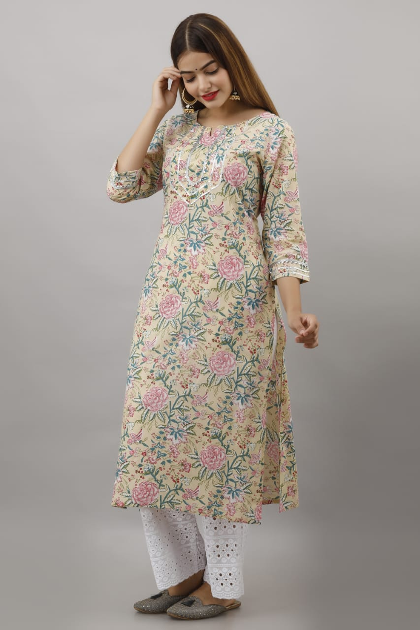 RN0146 Clotted Cream Kurti With Cifili Pant