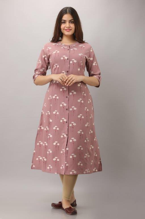 RJ0014 Pink  A line, Princess cut with one pocket Kurta