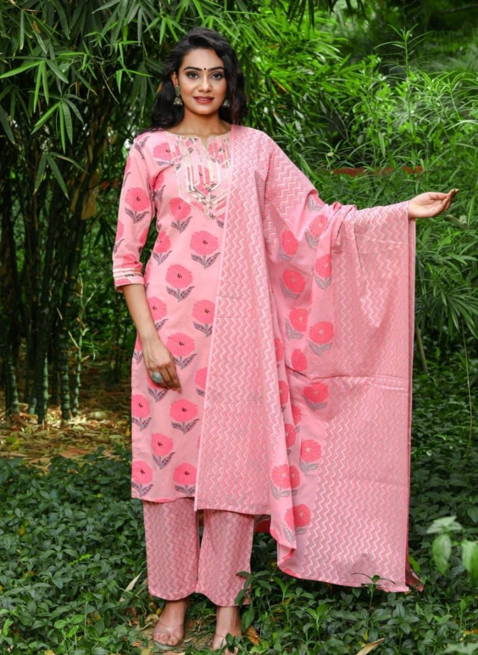 IKK0056 (Rs.750/-) Light Pink Kurti Pant Duppta Set.